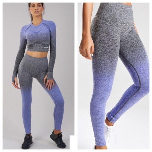 5e9be917547e81 Gymshark Pants | Nwt Ombr Indigo Black Seamless Leggings | Poshmark